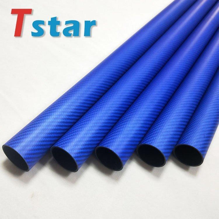 3K blue carbon fiber tube